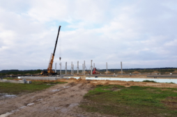 wznoszenie prefabrykowanej konstrukcji żelbetowej - hala handlowa, Kosmet Hurt, Biała Podlaska